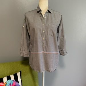 J. Crew Charcoal Striped Half Button Down Top C8